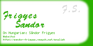 frigyes sandor business card
